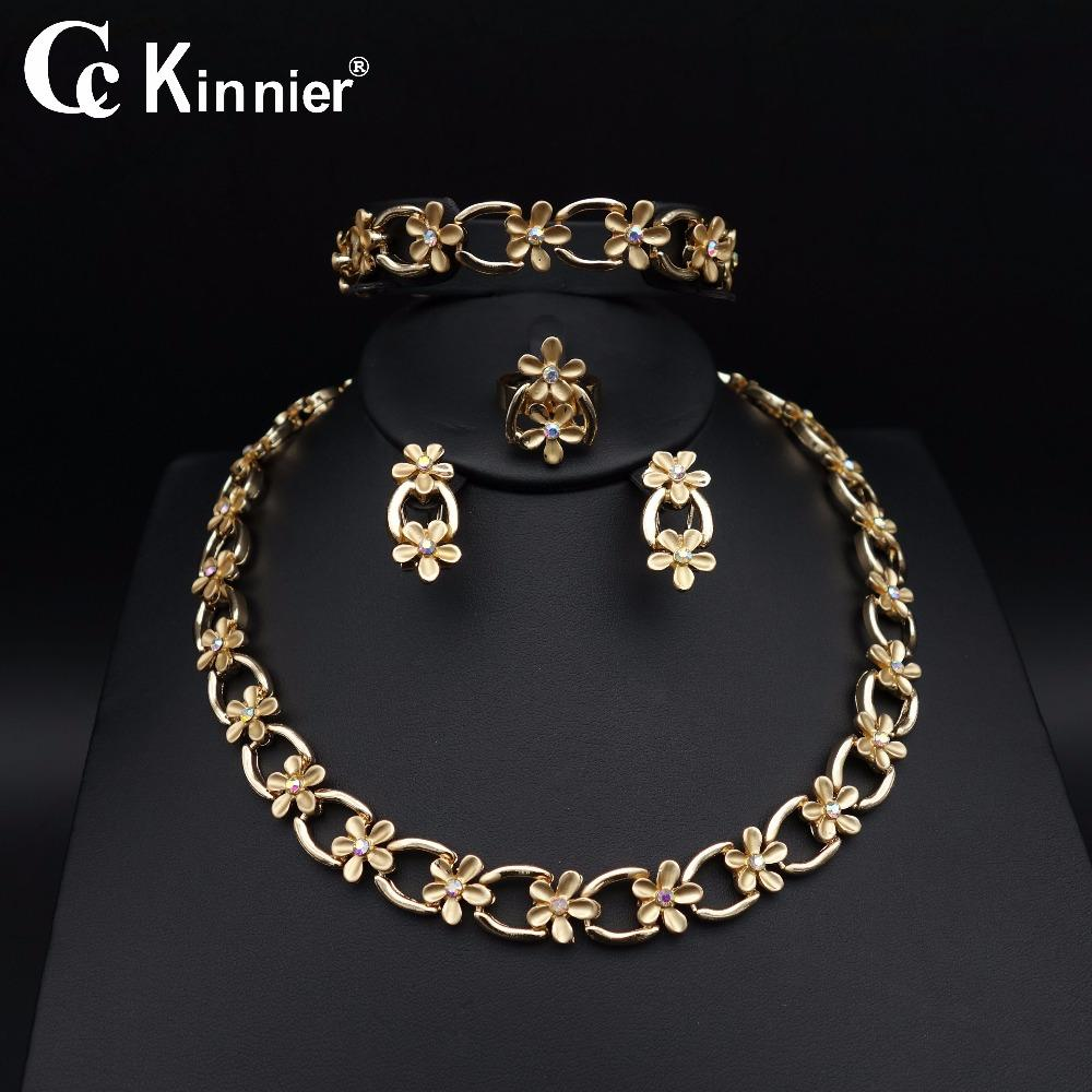 789292e3e863ca Whole SaleNew African Dubai Gold Color Fashion Wedding Jewelry Sets Unique  Design Flowers Necklace Earring Bangle Ring Bridal Beads 11.10 Bridal Ring  Sets ...