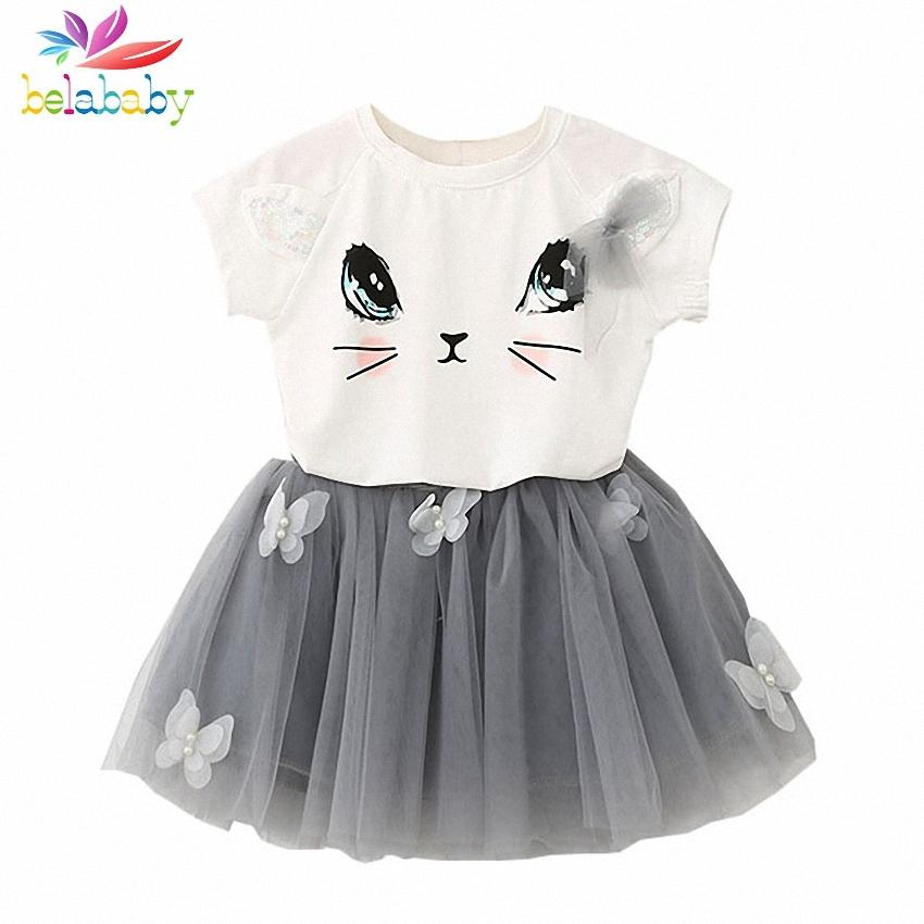 44bd909cf423 2019 Belababy Girls Clothing Sets New Summer Fashion Style Cartoon Kitten  Printed T Shirts+Net Veil Dress Girls Clothes Sets Y1892807 From  Shenping01