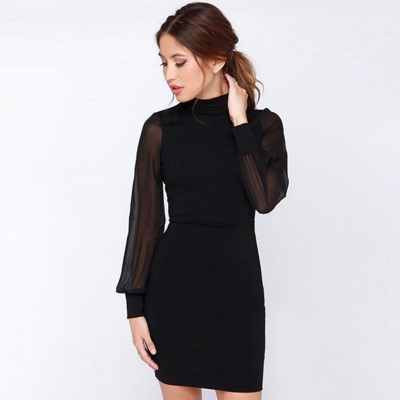 a1df688921a43 Satın Al Yaz Kadın Backless Ince Şerit Bodycon Kalem Elbise Kadın Siyah  Uzun Kollu Halter Mini Elbise, $25.4 | DHgate.Com'da
