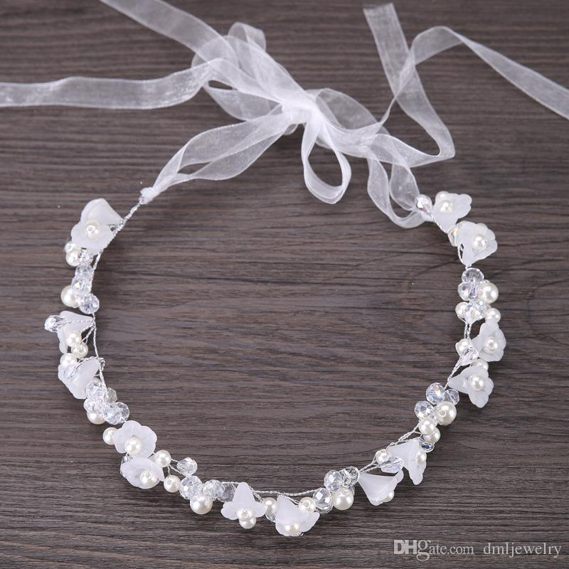 Perle di cristallo d'argento Copricapi da sposa Fasce da sposa fiori Diademi Fascia capelli da donna Copricapo Ragazze Copricapo bambini Vestito Accessori capelli