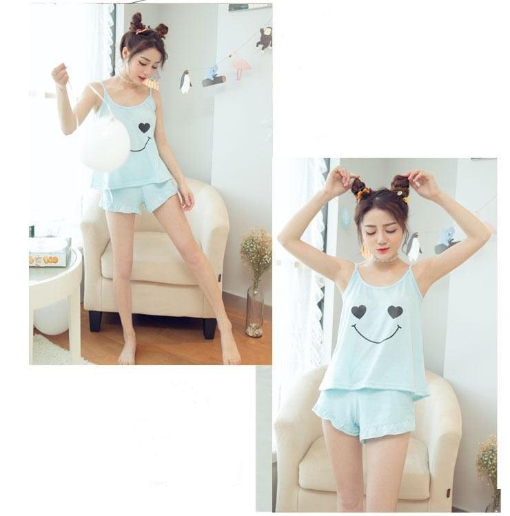 Brand Steph pajamas sets for women fashionSummer pajamas summer new sleeveless knitted cotton Korean round neck sexy cartoon pajamas