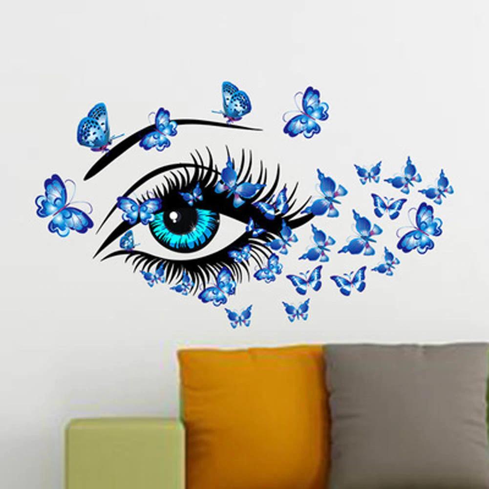 New Charme Fairy Girl Eye Wall Sticker Camere Fiore farfalla Amore cuore  Adesivo Camera da letto Divano Decorazione Wall Art Fshion
