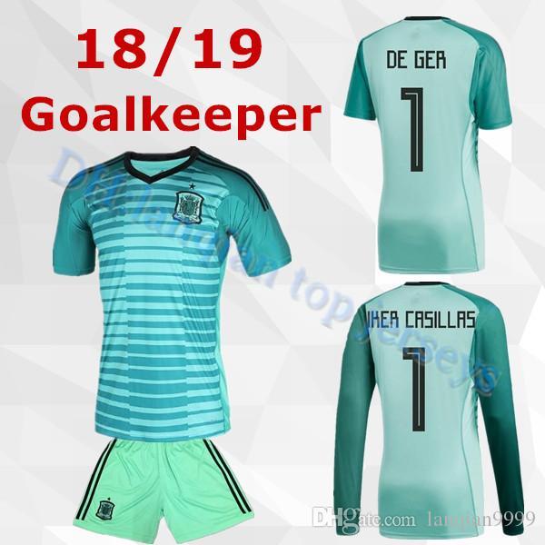 4dedb8134 2018 World Cup Spain Home Goalkeeper De Gea Green Shirt Espana ...