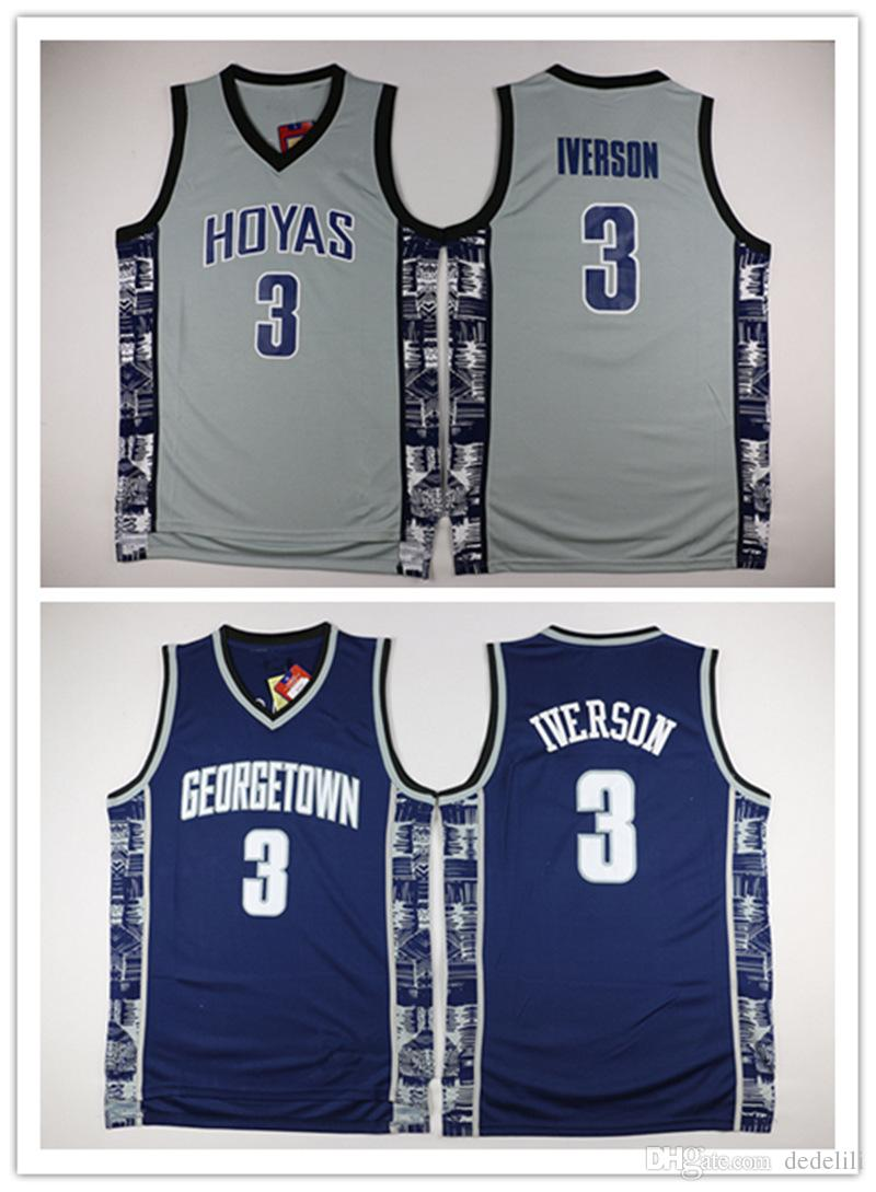 fe3e9576f 2019 NCAA Georgetown Hoyas College 3 Allen Iverson Jersey University Tean  Black Blue Gray Allen Iverson Basketball Jerseys Shirt Uniform From  Dedelili