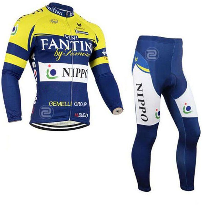 FANTINI Team Cycling Long Sleeves Jersey Bib Pants Sets New Cycling  Clothing Bike Wear Outdoor Sportswearc1309 Cycling Uniforms Best Bike Shorts  From ... 45af6da39
