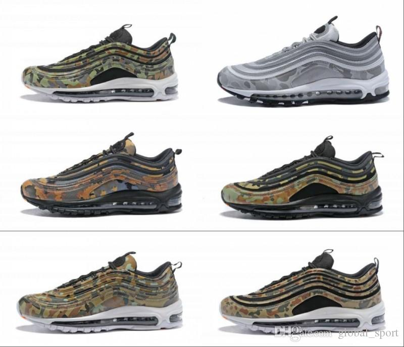 uk availability 3d4de 9349e 2018 New 97 Country Camo Japan Italy UK Army Green Running Shoes Men 97s  Camouflage Ultra Bullet 3M Premium Zoom Trainers Sneakers 36-46