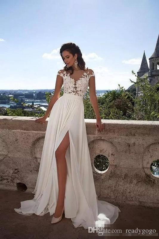Sexy Summer Beach Sheer Lace Appliqued Long A Line Wedding Dresses Capped Sleeves High Split Chiffon Bridal Gowns