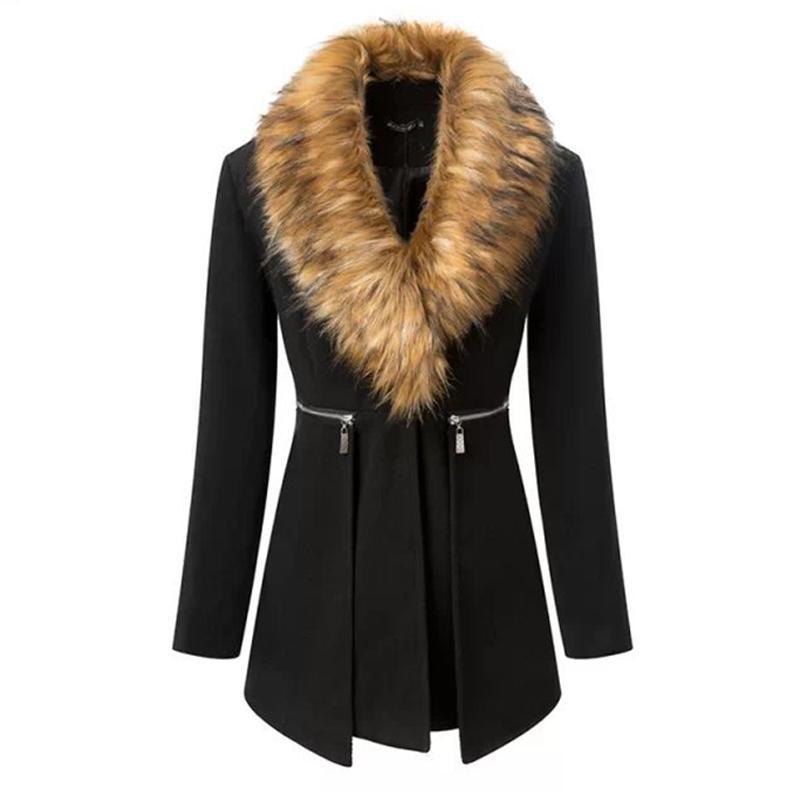 Schwarzer mantel mit fell damen