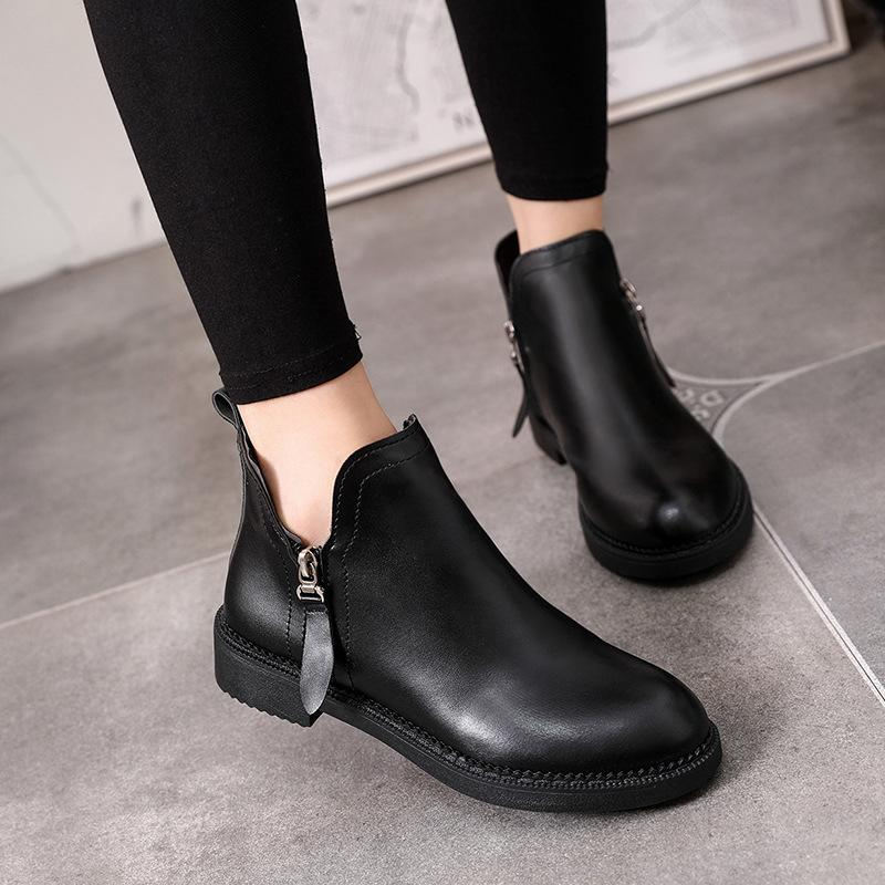 4f0eafa58bd 2018 Spring Autumn Brief Ankle Boots For Women Booties Rubber Sole Black  Low Heels Leather Ladies Casual Shoes Good Quality Wedge Booties Boots Sale  From ...