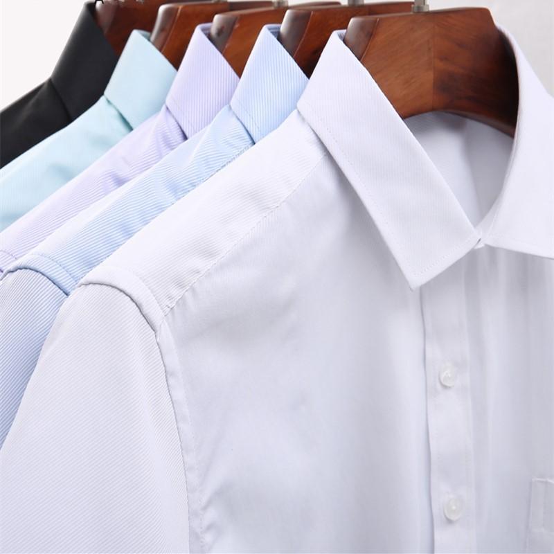 73b6f2b876a Compre Camisas De Vestir Clásicas De La Tela Para Hombre De La Tela Cruzada  Camisa Social De La Manga Larga Camisa De Algodón No Planchado Masculina De  Los ...