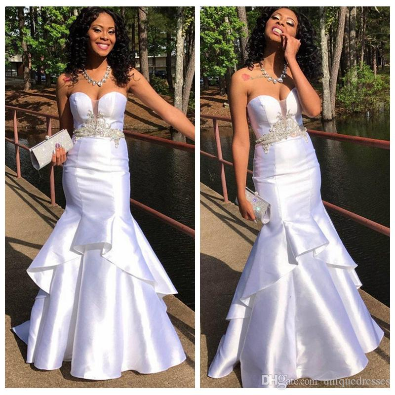 ab9337677b4 White Mermaid Prom Dresses Sweetheart Appliques Beaded African Evening Gowns  Tiered Floor Length Black Girl Party Wear Prom Dresses For 11 Year Olds Prom  ...