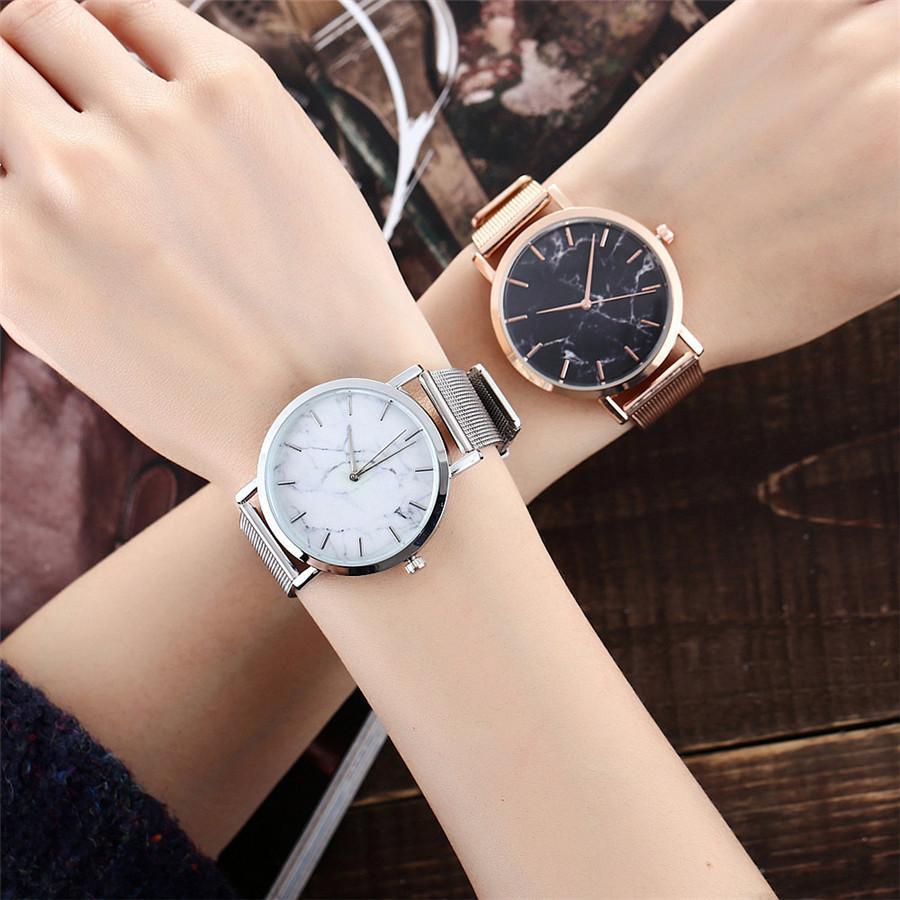39e110f5781 Compre Moda Prata E Banda De Malha De Ouro De Mármore Relógio De Pulso De  Quartzo Relógios Relogio Feminino De Giantcheap