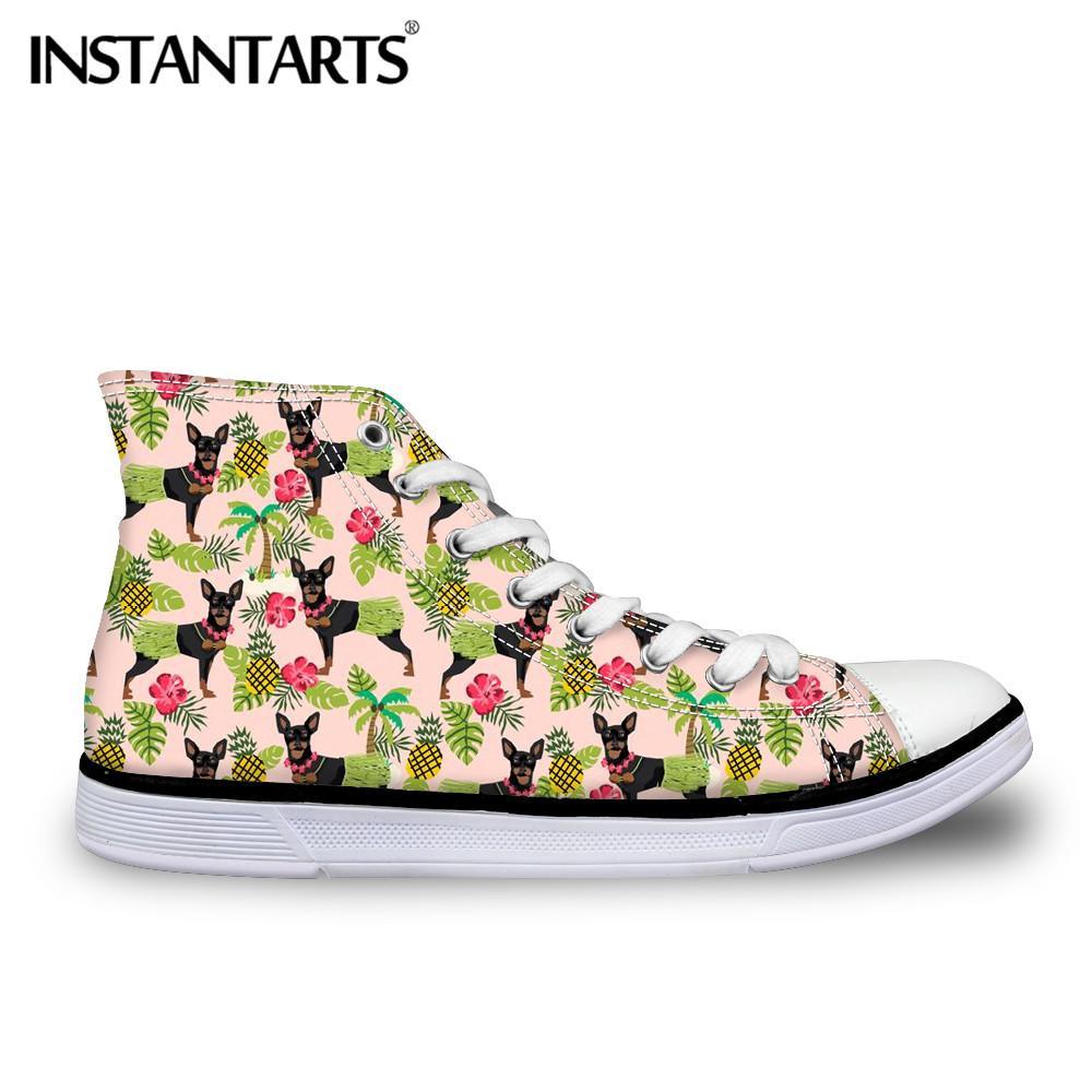 339895591 Compre Atacado Alta Top Sapatas De Lona Mulheres Lace Up Flats Sapatos 3D  Animal Bonito Doberman Dog Print Senhoras Sapatilhas Meninas Tornozelo  Sapatos De ...