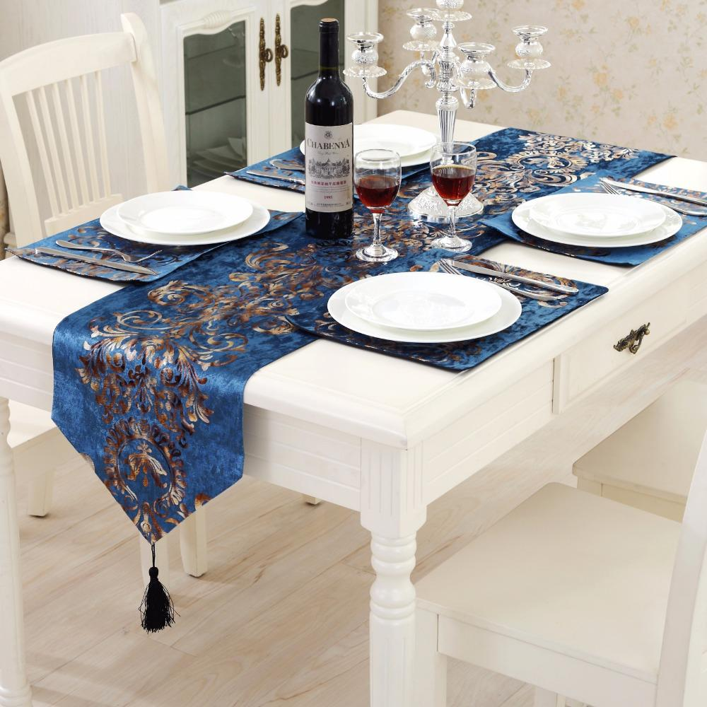 Classical Western Table Runner Flocking Bronzing Simulation Silk Cloth  Tassel Table Decoration For Wedding Home Party Supplies Cotton Table Runners  Country ...