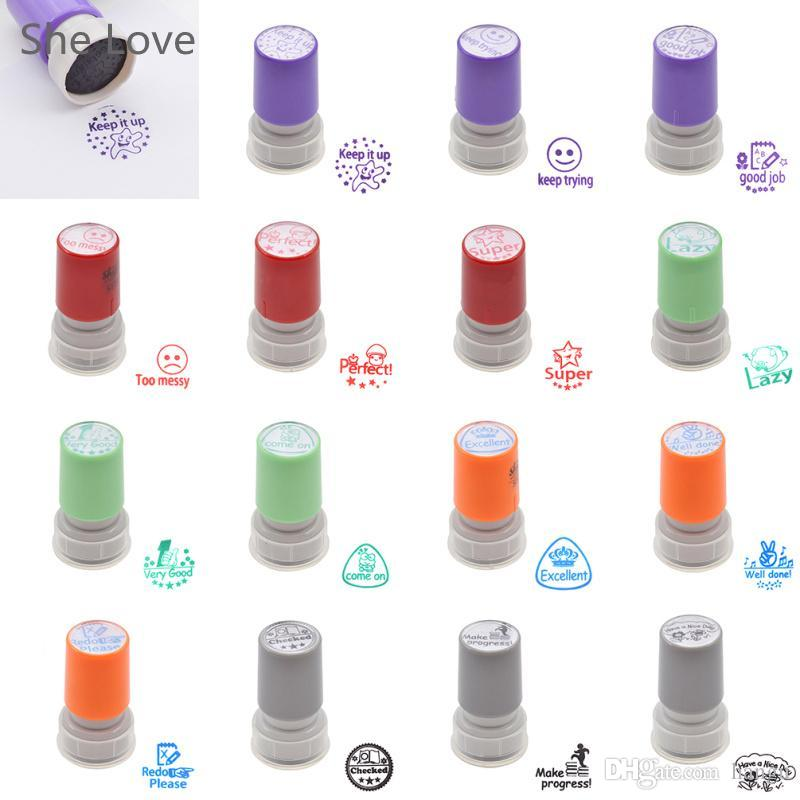Wholesale Teacher Self Inking Rubber Stamp Parents Comment Invigorative Words Children Cartoon Gift Decorative Stamps Collecting Software