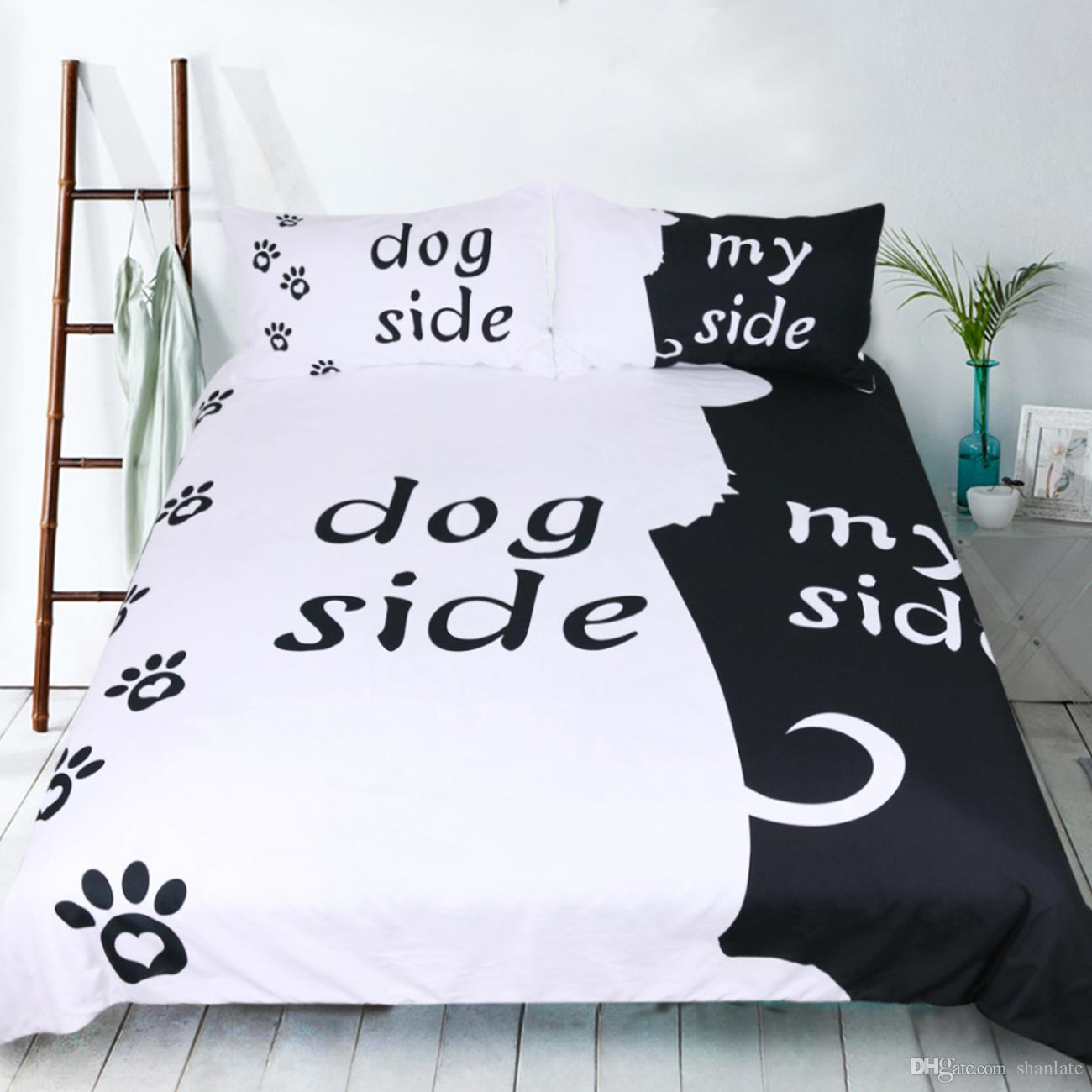 Novelty Gift Funny Dog Side My Side Words Pattern Bedding Set Duvet Quilt Cover With 2 Pillowcase Twin Full Queen King Size Bedding Sheets Queen Duvet Cover ...