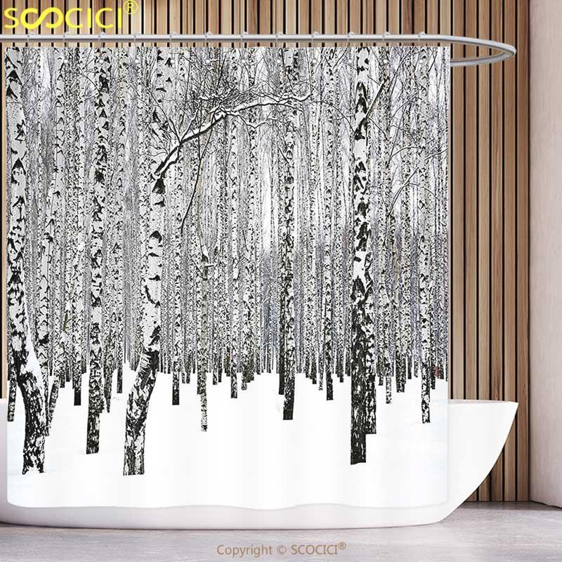 2019 Unique Shower Curtain Winter Decorations Birch Grove In Forest With Leafless Tree Branches Nature Image Brown White From Hariold