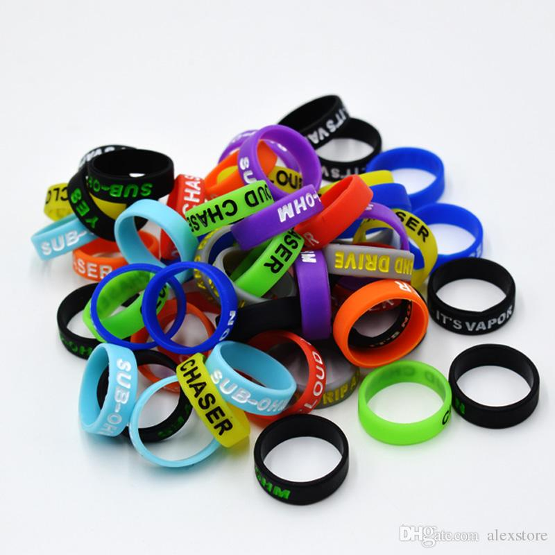 Silicon band engraved beauty ring Non-Slip Non-Skid 22mm*7mm silicone vape band for mechanical mods rda tank decorative mech vapor DHL