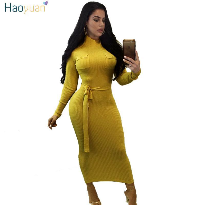 6a75c2a27 Compre Haoyuan Camisola De Malha Dress Mulheres Manga Comprida Outono  Inverno Vestidos Preto Amarelo Vestidos Casual Sexy Magro Bodycon Maxi  Dress D18102902 ...