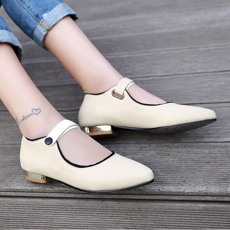 67faa091ac37 Japanese Sweet Style Sexy Pointed Toe Flat Shoes Fashion Belt Buckle ...