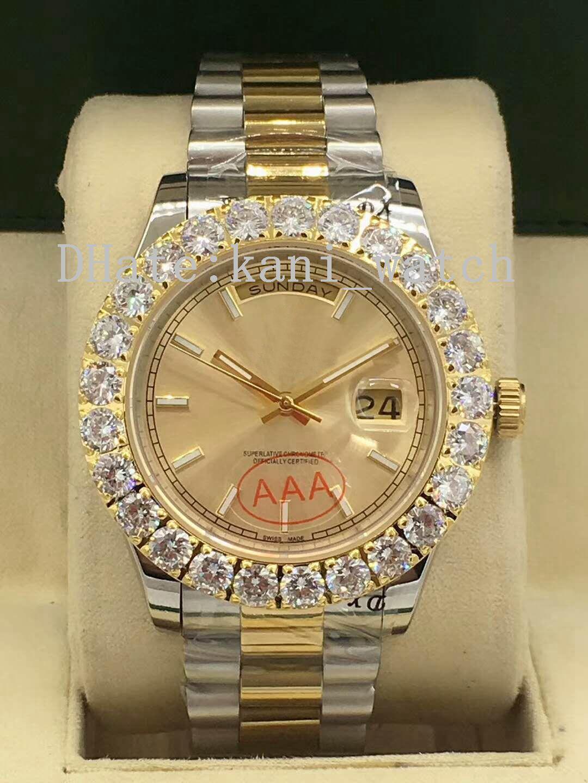 48fd0fd98a0 Compre Novos Produtos Top De Luxo Marcas De Alta Qualidade Movimento  Automático Grande Diamante Relógio De Mostrador De Data Dupla Mostrador De  41mm ...