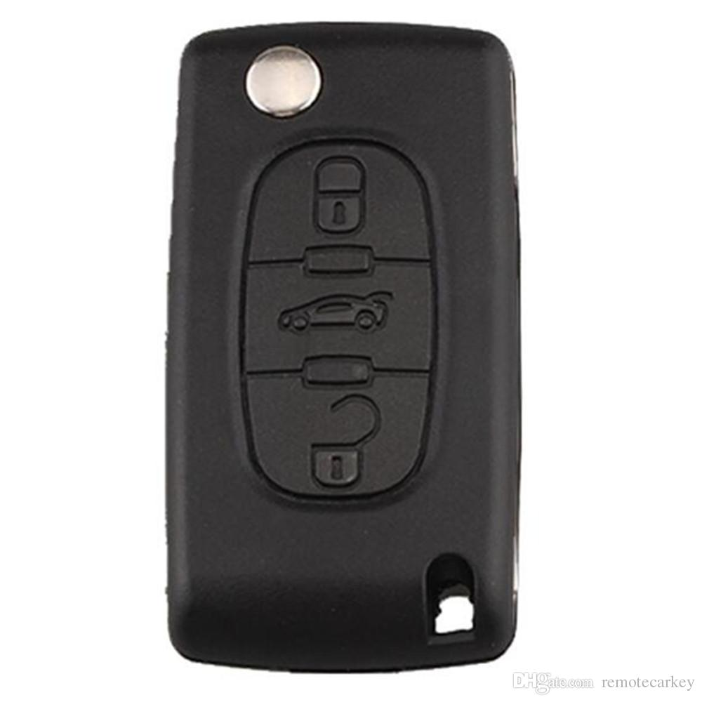 Citroen Peugeot 3 button Flip Cover with VA2T Uncut blade with Trunk Button without Battery Place with Rubber Texture Material