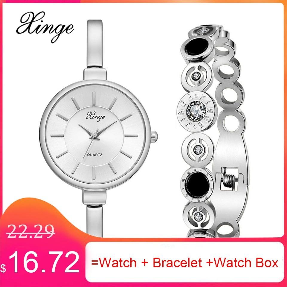 f2e2dd6b7c9 XINGE Brand Creative Bracelet Watches Set Luxury Silver Jewelry ...