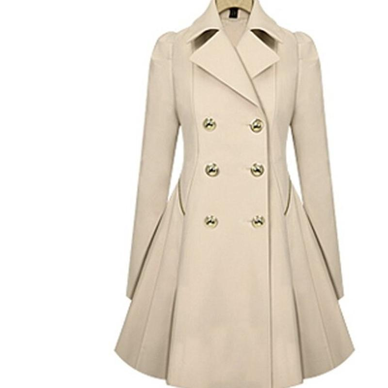 Wholesale- 2017 New Autumn Spring Women Casual Cotton Trench Coat Solid Turn-down Collar Long Sleeve Slim Fashion Women Coat Outerwear