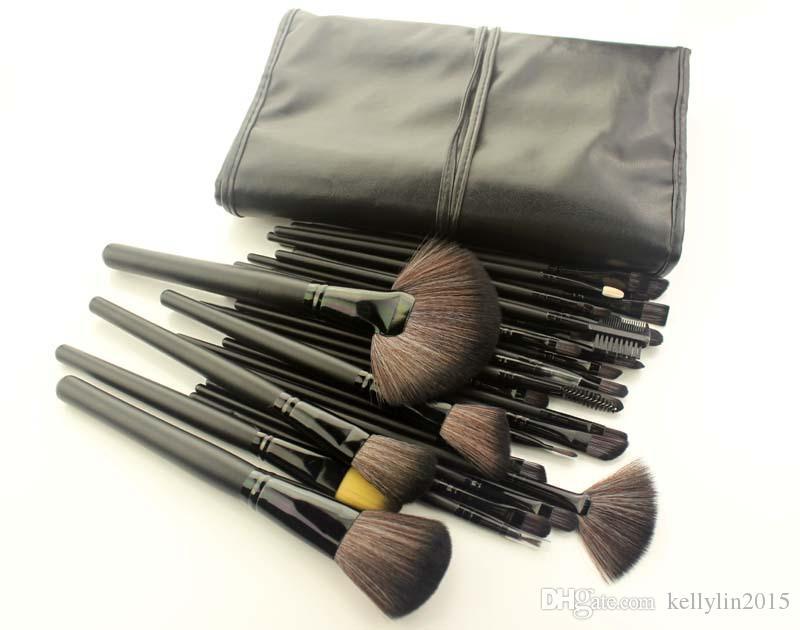 메이크업 브러쉬 세트 핑크 블랙 전문 목재 손 얼굴 재단 아이섀도 브러쉬 화장품 도구 가방으로 브러쉬를 확인하십시오