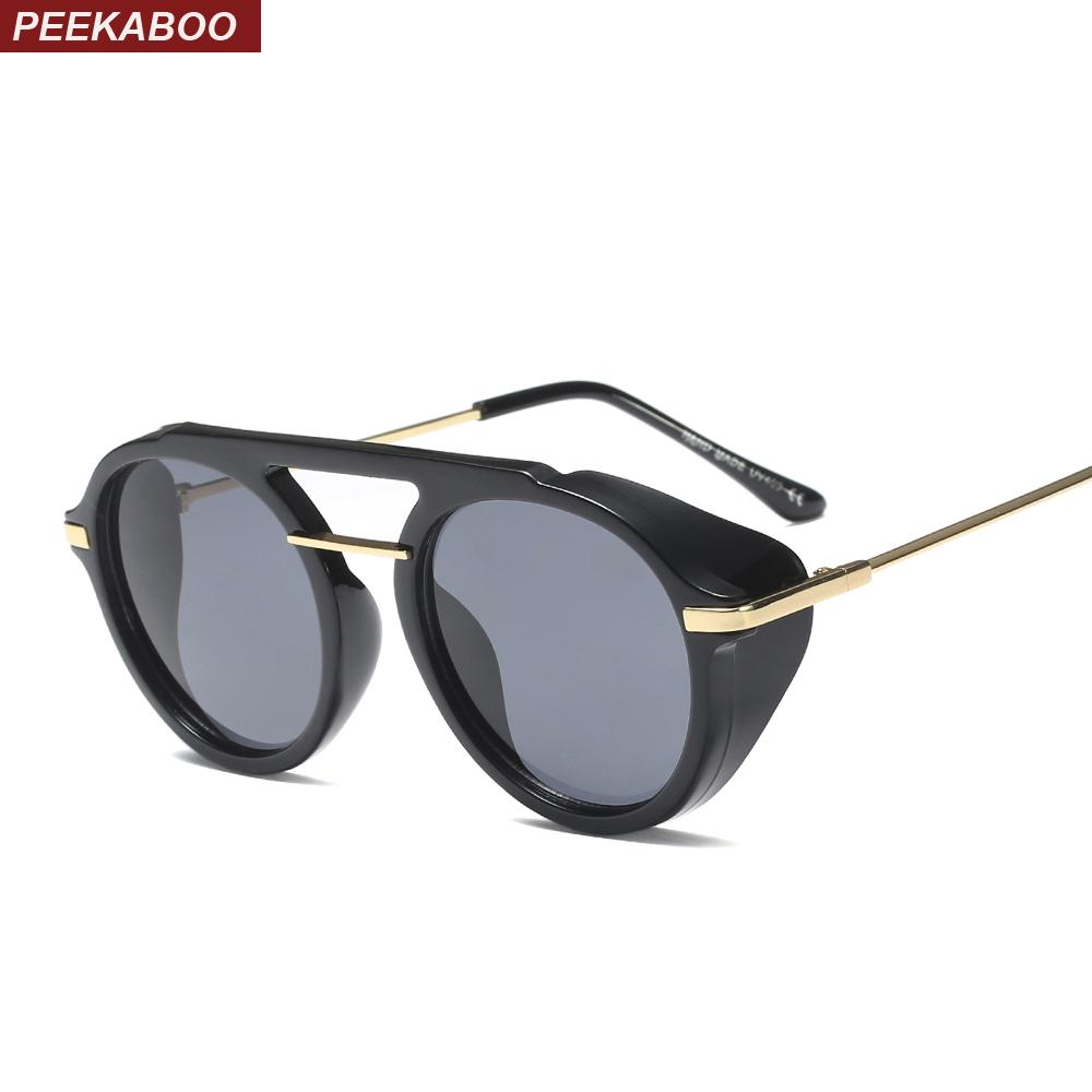 8d0e086527 Peekaboo Side Shield Sunglasses Men Round Brown Fashion 2019 Circle ...