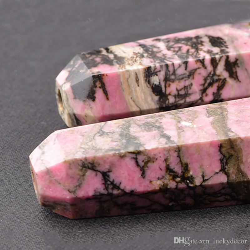 Rare Chunky 6 Sided Natural Rhodonite Crystal Pipe High Quality Black&Pink Mineral Healing Gemstone Smoking Wand Point Pipe Non Glass Pipe