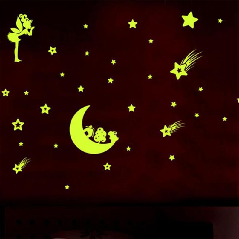 Little Angle Estrela lua Fluorescente Brilho No Escuro Estrelas Adesivos De Parede crianças quarto luminoud noite etiqueta melhor presente