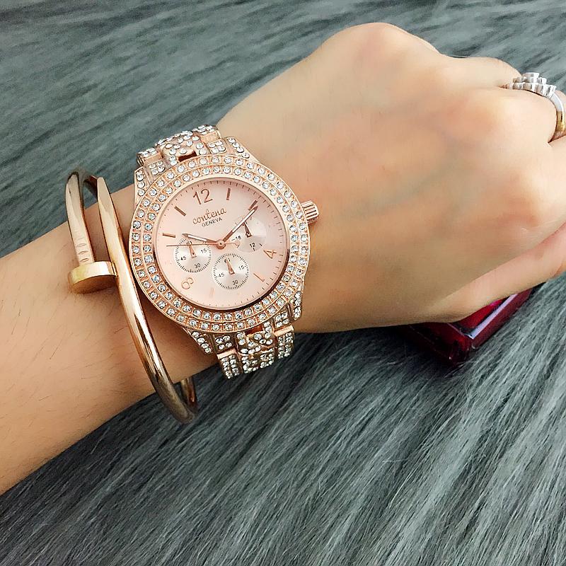 2b64f21671b Großhandel CONTENA Rose Gold Uhr Damen Uhren Strass Armband Damenuhr  Damenuhren Uhr Montre Femme Reloj Relogio FemininoY1883102 Von Tao03