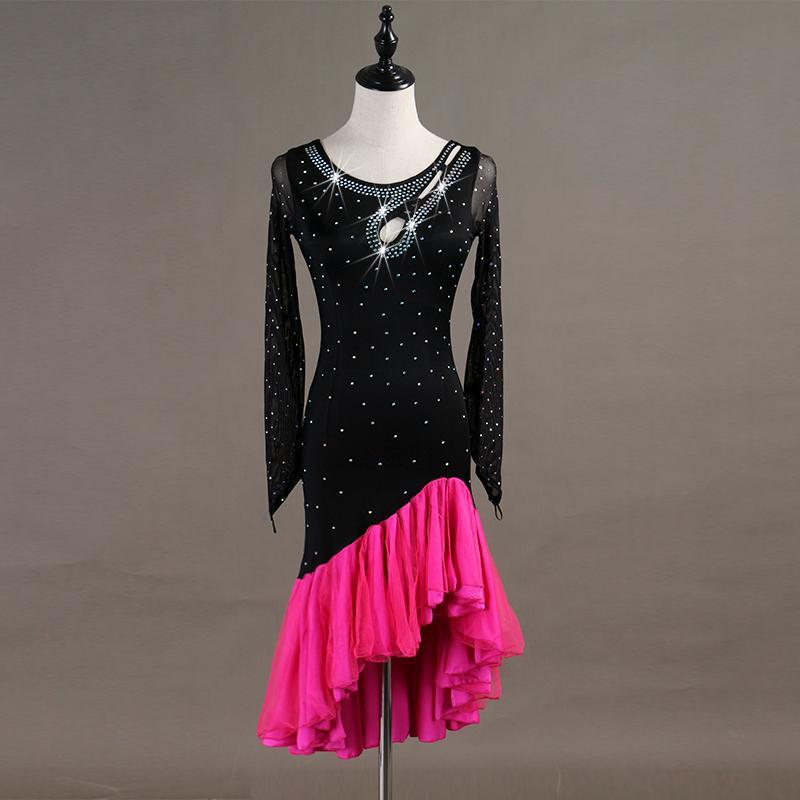 14b1e383082 Acheter Style De Volants À Manches Longues Robe De Danse Latine Vêtements  Salsa Costume Jupe Concours De Danse Pour Les Femmes De  138.41 Du Vikey18  ...