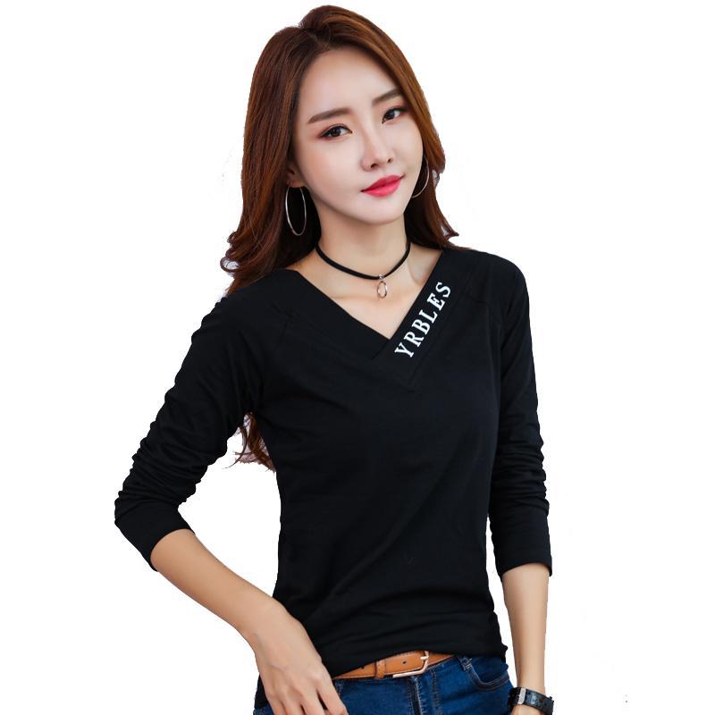 943d97f6b7 T Shirt Woman Short Sleeve V-neck Top 2018 Autumn And Winter Women s ...