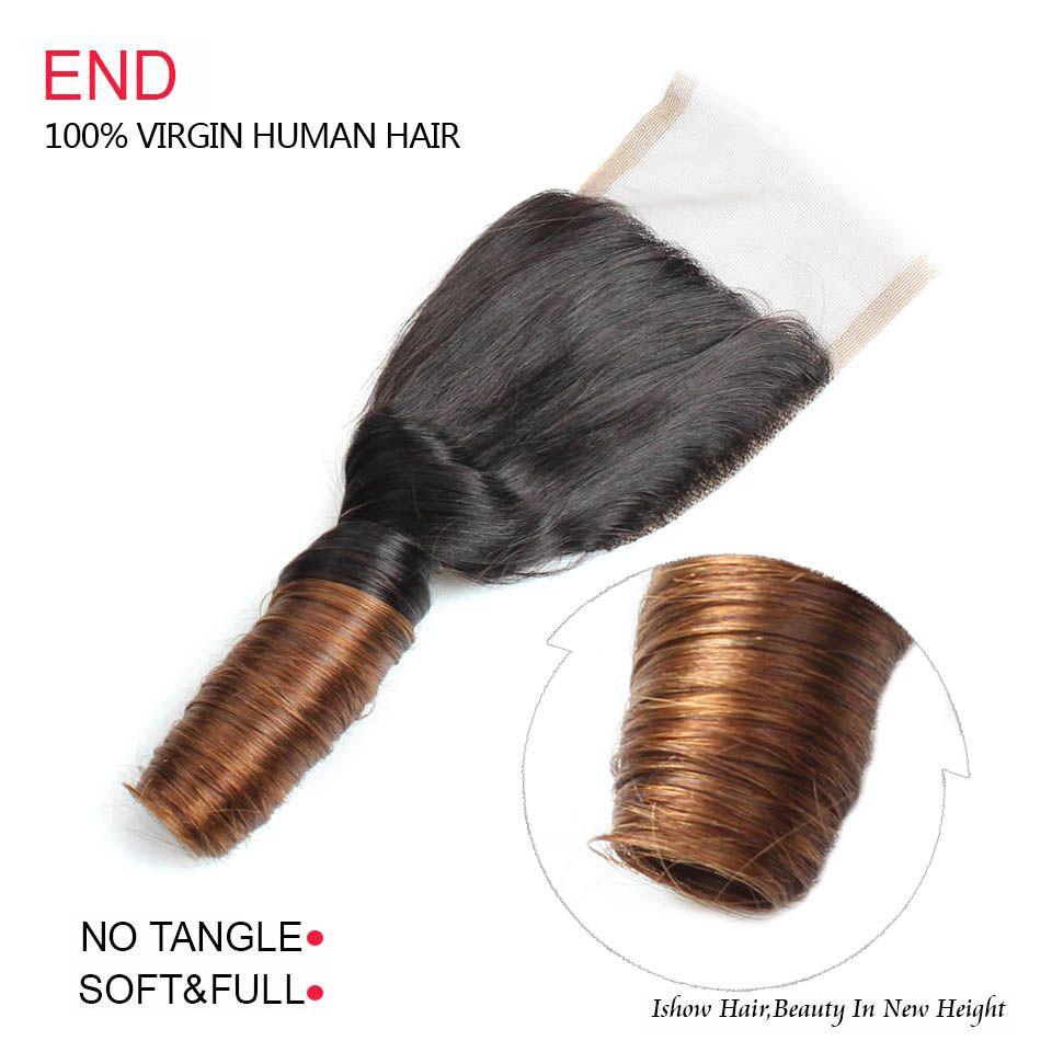 Ishow Ombre Бодрое Вьющиеся Волосы Закрытие Кружева 1 шт. Бразильские Перуанские Индийские Волосы 12