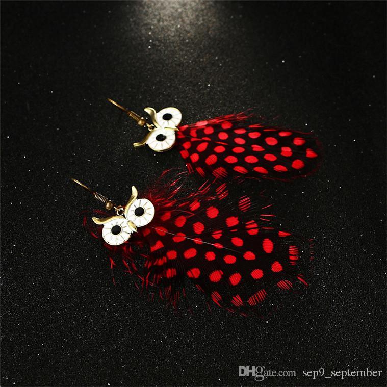 Eule Ohrringe 2 Farben Vintage Kronleuchter Ohrringe für Frauen Neue Ankunft Feder Quaste Bohemina Eule Ohrring