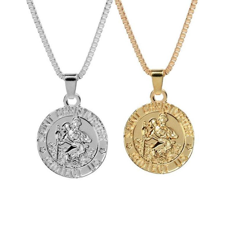 ad5a4f0ba80 Wholesale Saint Christopher Protect Us Surfing Necklace Coin Traveller  Necklace Silver Gold Plated Chain For Women Men Fashion Jewelry KKA2112  Pendant ...