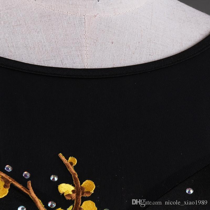 Новый взрослый / девушка латинский танец платье сальса танго Чача бальные конкуренции танец платье сетки шить горный хрусталь вышитые платье бесплатно пользовательские