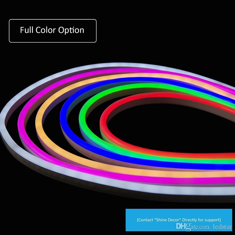 AC 110-240V Flexible RGB LED Neon Light Strip IP65 Multi Color Changing 120LEDs/m LED Rope Light Outdoor + Remote Controller + Power Plug