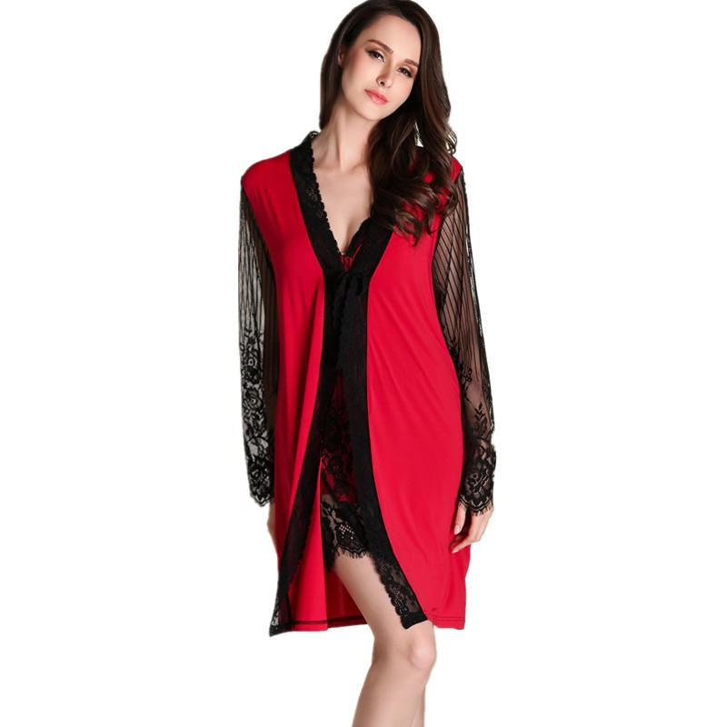 fdc52db64 Compre Conjuntos De Robe Das Mulheres Sexy 2017 Chegada Nova Vermelho De  Luxo Rendas De Seda Casa Ternos Suspensórios Camisola Robe Conjunto De Duas  Peças ...