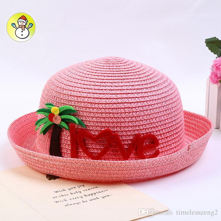 5cafe5e4d Creative children straw hat with cartoon coconut tree LOVE letter baby hats  kids breathable beach hat 5 color free ship