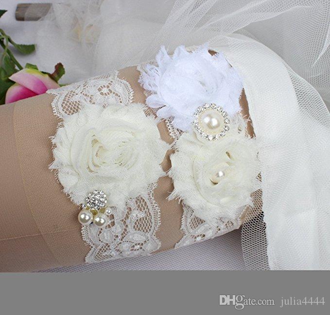 Giarrettiere da sposa sposa Giarrettiere da sposa in pizzo 2 pezzi in set di perle di vetro foto reali reali cristalli in chiffon fatti a mano a buon mercato