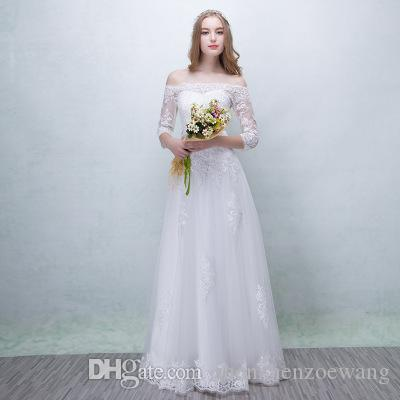 d92a322d7236 2019 2018 Muslim Wedding Dresses Cheap Sexy A Line Strapless Long Sleeve  White Lace Maxi Dresses Simple Fanshion Formal Bridal Gowns From  Shenzhenzoewang