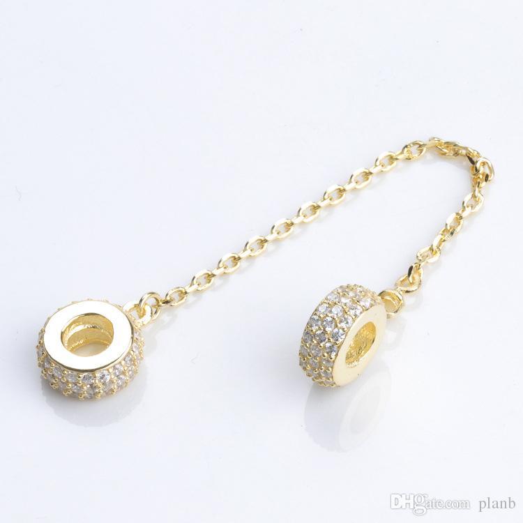 Mujeres es 925 plata esterlina claro CZ cadena de seguridad 14 K chapado en oro rosa ajuste Pandora Charms pulsera joyería de DIY que hace