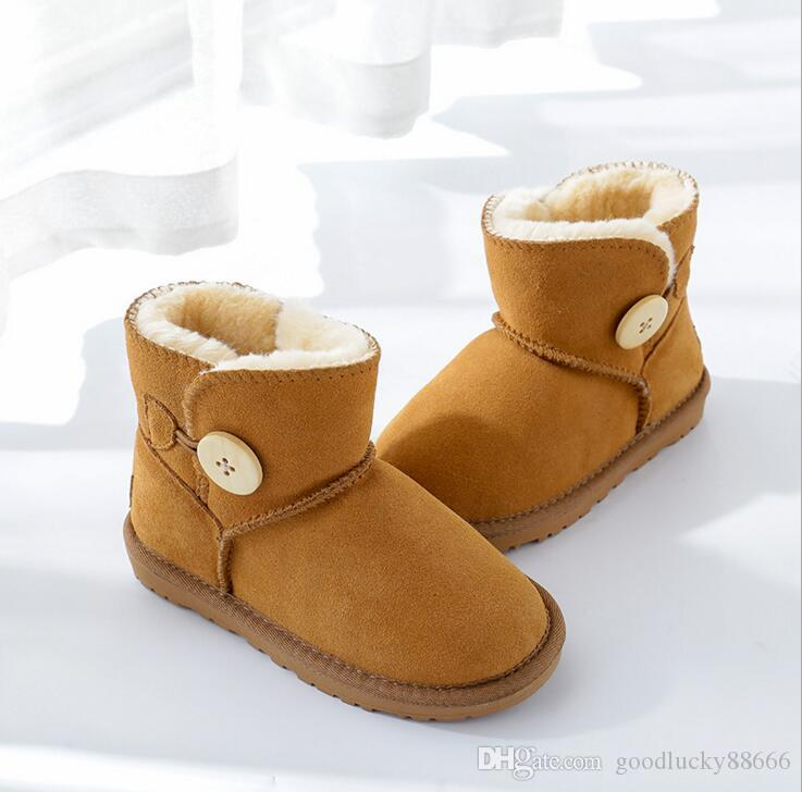 5c4fa6634ce Baby Snow Boots for boys and girls Kids Snow Boots Sheepskin Real Fur Shoes  Children Geanuine Leather Thick Cotton Shoes