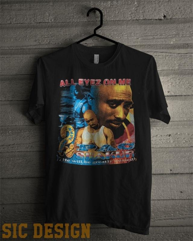 2Pac All Eyes On Me Memorial Mens T-Shirt Vintage Male Short Sleeve ...