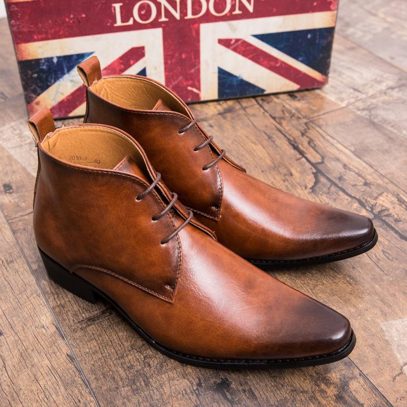Compre 2019 Yomior Homens Apontou Toe Top Quality Vestido Sapatos De Couro  De Negócios Sapatos Casuais Ankle Boots Outono Zapatos De Hombre Chelsea  Botas De ... 011e4acc653ed
