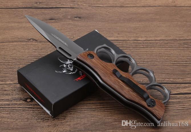 vendita calda Knuckle coltello pieghevole X71 2 stili 3Dpicutre di superficie e maniglia in legno utensili da campeggiooutdoor EDC strumento tascabile prezzo all'ingrosso