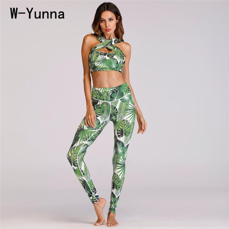 ce48f2d57851e6 2019 W Yunna Summer 3d Print Leggings Bra Sets Women Green Leaves Print  Beachwear Yuga Set Cross Design Bra With Pads Fitness Leggin From Sikaku,  ...